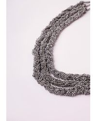 Missguided | Metallic Multi Layered Necklace Silver | Lyst