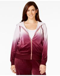 Calvin Klein | Purple Plus Size Dip-dyed Ombré Velour Hoodie | Lyst