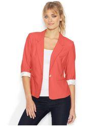 Kensie - Pink Three-quarter-sleeve Blazer - Lyst