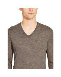 Ralph Lauren Black Label - Gray Merino V-neck Pullover for Men - Lyst