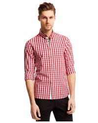 Kenneth Cole Reaction | Red Slim-fit Check Shirt for Men | Lyst