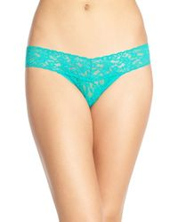 Hanky Panky - Green 'signature Lace' Low Rise Thong - Lyst