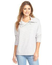 Caslon | Gray Drape Neck Pullover | Lyst
