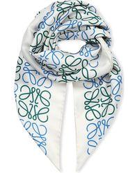 Loewe - White Anagram Silk Scarf - Lyst