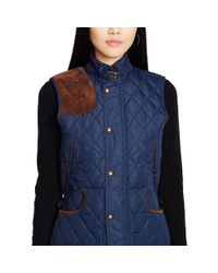 Polo Ralph Lauren | Blue Suede-trim Quilted Vest | Lyst