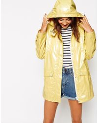ASOS | Yellow High Shine Rain Mac | Lyst
