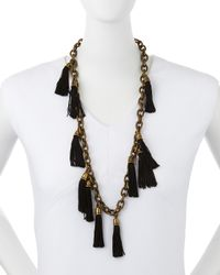 Lela Rose | Black Tassel Chain Link Necklace | Lyst