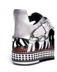 Proenza Schouler | Woven Metallic Leather Flatform Sandals | Lyst