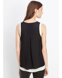 VINCE | Black Mixed Media Double Layer Tank | Lyst