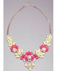 Bebe - Pink Floral Statement Necklace - Lyst