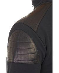 Ralph Lauren Black Label - Black Leather-Panel Half-Zip Pullover for Men - Lyst