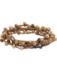 Feathered Soul - Natural Jasper Bead & Braided Silk Wrap Bracelet for Men - Lyst