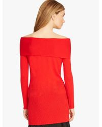 Halston - Red Off Shoulder Cashmere Sweater - Lyst