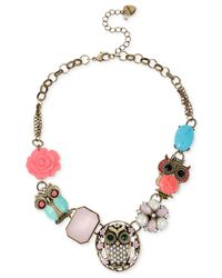 Betsey Johnson | Multicolor Gold-Tone Owl Frontal Necklace | Lyst