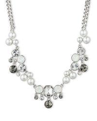 Givenchy - Metallic Silvertone Necklace with Mixed Pearls Crystals - Lyst