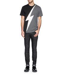 Neil Barrett - Gray Lightning Bolt Print T-shirt for Men - Lyst