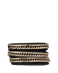 Givenchy - Black Curb Chain Leather Bracelet - Lyst