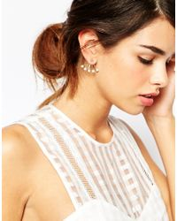 ASOS - Metallic Oversize Pearl Swing Earrings - Lyst