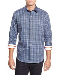 Robert Graham | Blue 'davies' Tailored Fit Check Sport Shirt for Men | Lyst