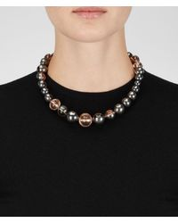 Bottega Veneta - Pink Oro Rosa Rock Crystal Burnished Silver Necklace - Lyst