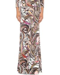 Emilio Pucci | Natural Abstract-print Jersey Maxi Skirt | Lyst