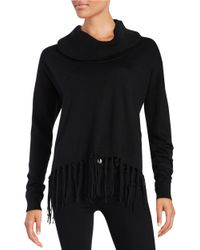 MICHAEL Michael Kors - Black Petite Fringed Cowlneck Sweater - Lyst