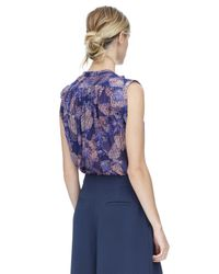 Rebecca Taylor Purple Sonic Garden Sleeveless Silk Top