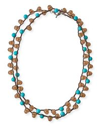 An Old Soul | Multicolor Smoke Crystal & Turquoise-dyed Long Necklace | Lyst