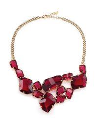 ABS By Allen Schwartz   Metallic Some Like It Hot Faceted Stone Bib Necklace   Lyst