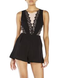 Lush - Black Sleeveless Mesh & Lace Romper - Lyst