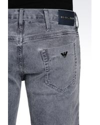 Emporio Armani | Blue Tapered Fit Grey Wash Jeans for Men | Lyst