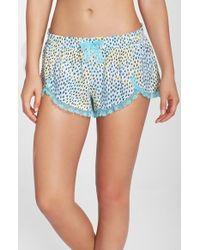 Betsey Johnson | Blue Lace Hem Woven Shorts | Lyst