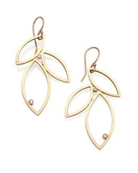 Zoe Chicco - Metallic Diamond & 14k Gold Petal Drop Earrings - Lyst