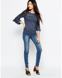 Vero Moda - Blue 3/4 Sleeve Bell Sleeve Top With Embroidered Detail - Lyst