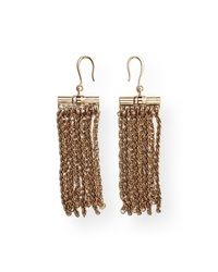Lanvin Metallic Golden Fringe Drop Earrings