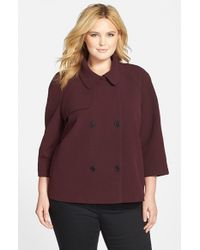 Halogen | Purple Raglan Sleeve Short A-line Coat | Lyst