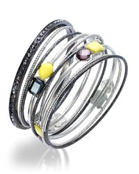 INC International Concepts - Metallic Two-tone Yellow And Hematite Crystal Bangle Bracelet Set - Lyst