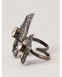 Lanvin | Metallic 'altair' Two Finger Ring | Lyst