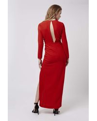 TOPSHOP | Red Plunge Crepe Maxi Dress | Lyst