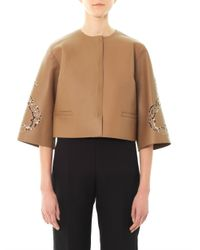 Dolce & Gabbana - Brown Lasercut Leather Jacket for Men - Lyst