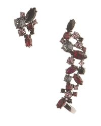 Marchesa - Red Drama Stone Stud And Crawler Earring Set - Lyst