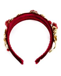 Dolce & Gabbana - Red Velvet Embellished Hairband - Lyst