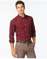 Tommy Hilfiger | Red Zander Plaid Long-sleeve Shirt for Men | Lyst