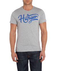 Tommy Hilfiger - Gray Short Sleeve Large Logo T-shirt for Men - Lyst