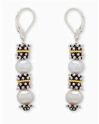 Lord & Taylor | Metallic Sterling Silver And Freshwater Pearl Earrings | Lyst