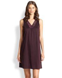 Hanro - Purple Moments Tank Short Gown - Lyst