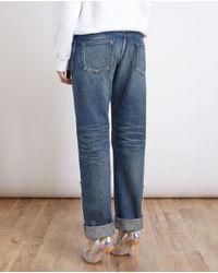 Tu Es Mon Tresor - Blue Pearl Embellished Boyfriend Jeans - Lyst