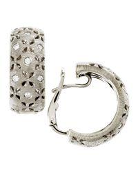 Roberto Coin - Metallic Diamond Granada Hoop Earrings White Gold - Lyst
