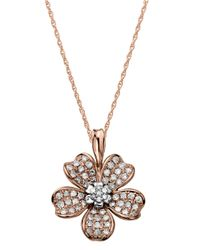 Lord & Taylor | Pink 14kt. Rose Gold And Diamond Flower Pendant Necklace | Lyst