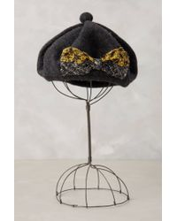 Anthropologie - Gray Popolo Bow Beret - Lyst